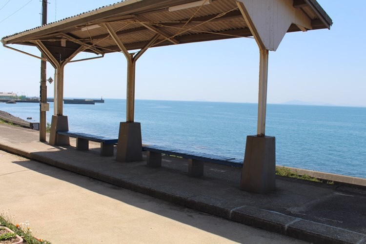 下灘駅から見える海の画像