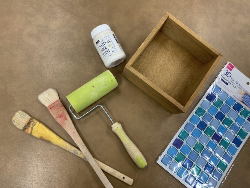 インテリア木製ボックス×タイルシールでウォールボックスの材料