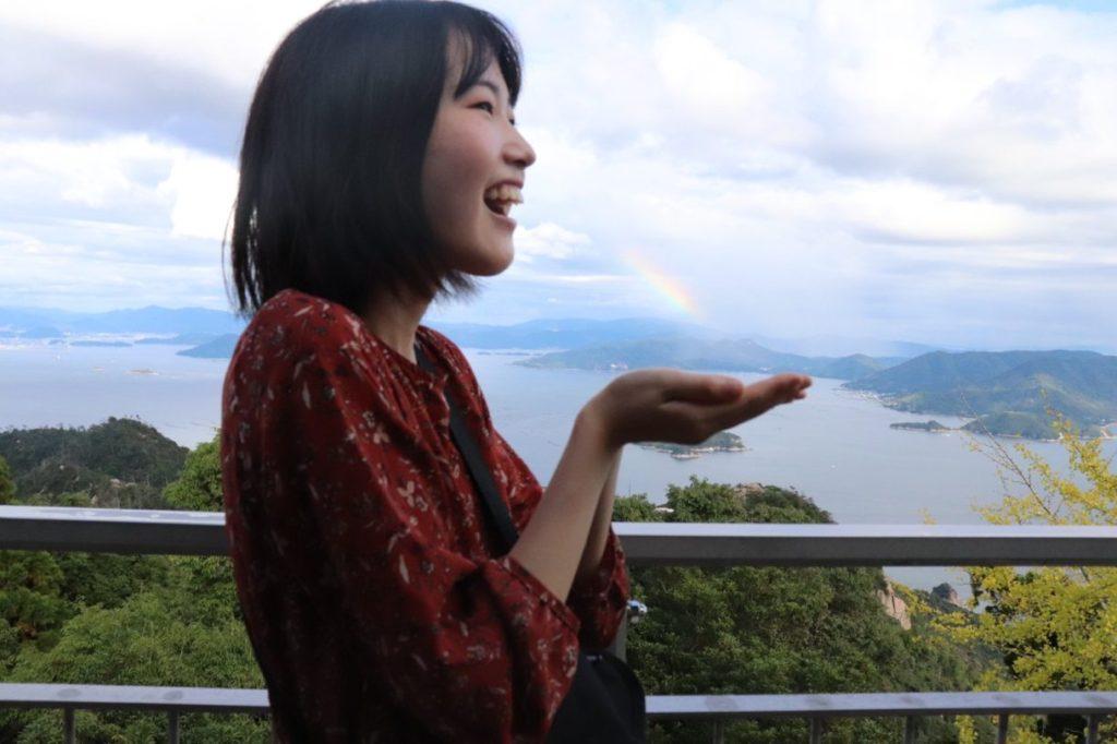 展望台から虹が見えた写真